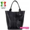 Duża czarna torba damska shopper z fakturowanej skóry naturalnej - 179,00zł