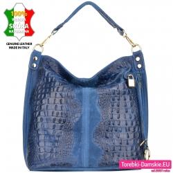 Granatowo - niebieska torba skóra aligatora duży model
