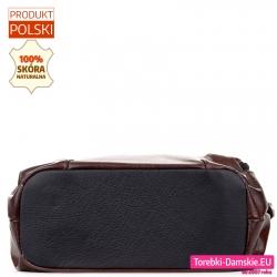 Dno skórzanej torby jest czarne, płaskie i usztywnione