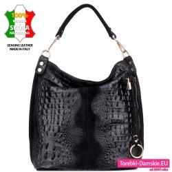 Czarna torba o fakturze skóry aligatora