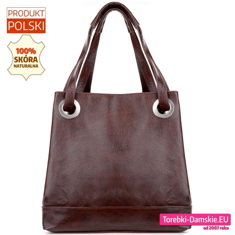 Ciemnobrązowa torba damska ze skóry z okrągłymi okuciami kolor gorzka czekolada