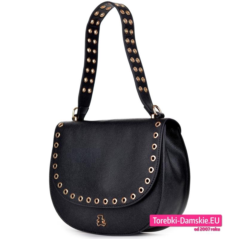 Czarna torebka Lulu Castagnette z nitami metalowymi oczkami
