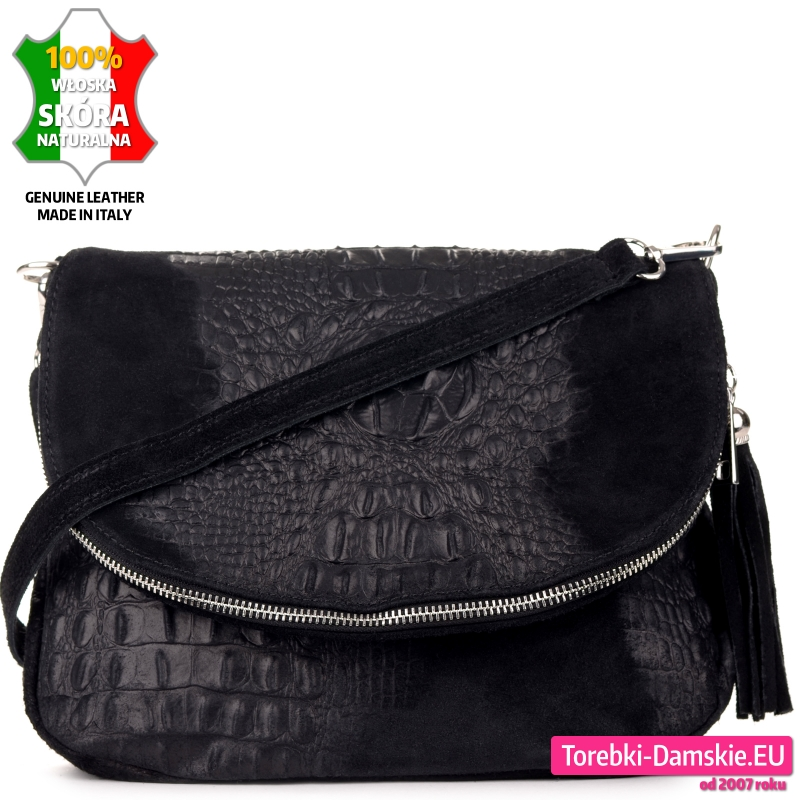 Czarna torebka z klapą ze skóry aligatora do noszenia w przewieszeniu