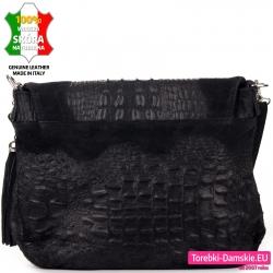 Czarna torebka średniej wielkości faktura skóry aligatora / krokodyla