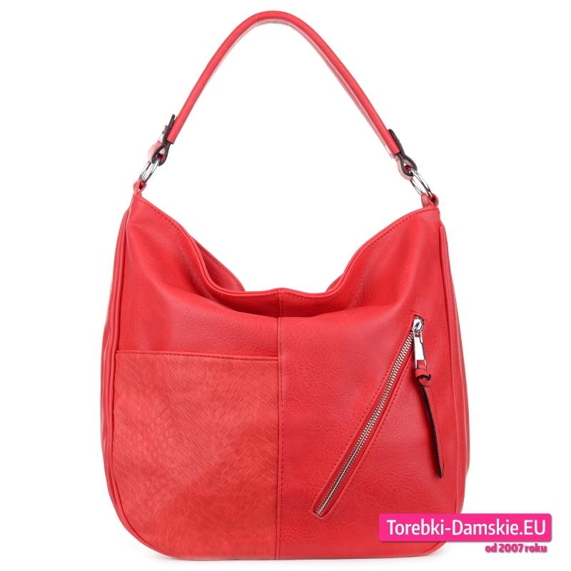 Czerwony worek elegancka torba damska na ramię