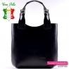 Czarna skórzana torba shopper - włoska zarka