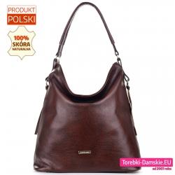 Skórzana ciemnobrązowa torba damska duży model produkt polski
