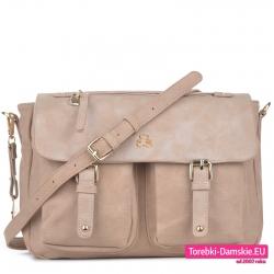 Beżowa torebka z klapą i dwoma kieszonkami Lulu Castagnette