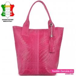 Skórzana torba damska shopper kolor fuksja
