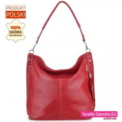 Czerwona skórzana polska torba damska na ramię