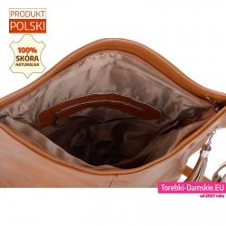 Pojemna torba skórzana zamykana szczelnie na suwak jasny odcień brązu, kieszenie wewnątrz