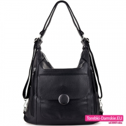 Czarna dwukomorowa torba i plecak damski w jednym z kieszeniami z przodu