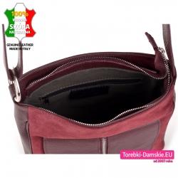 Włoska torba damska zamykana suwakiem ze skóry w kolorze czerwone wino