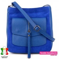 Skórzana niebieska kobaltowa torebka damska do przewieszenia