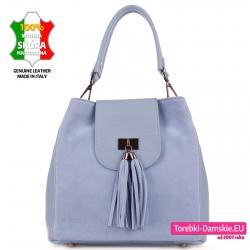 Skórzana błękitna torebka damska