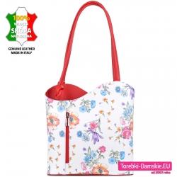 Biała skórzana torebka na ramię w kwiaty i plecak w jednym