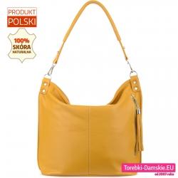 Żółta torebka damska ze skóry piękny odcień