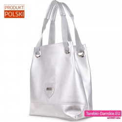 Polska duża srebrna torba damska na ramię
