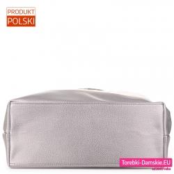 Duża torba płaski spód srebrny