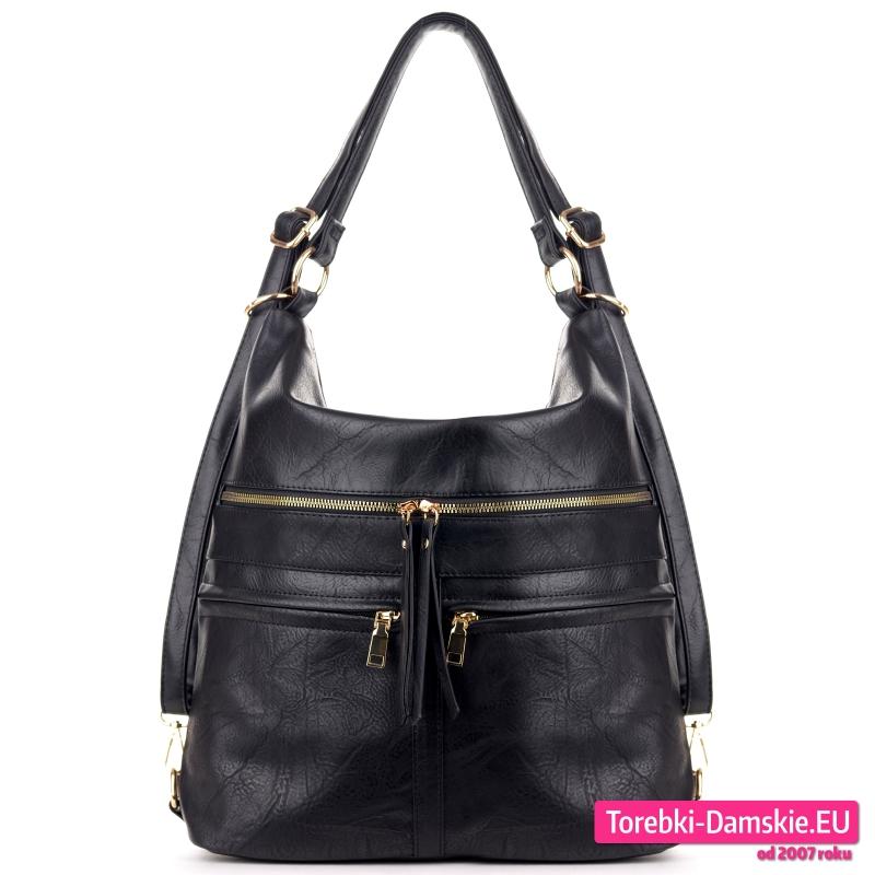 Pojemny duży czarny torbo plecak w cenie promocyjnej