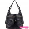 Czarny pojemny torbo - plecak ze złotymi suwakami z przodu - 99,00zł