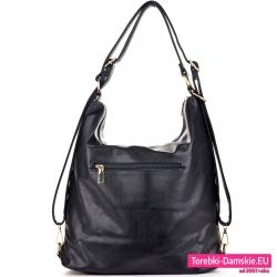 Duża czarna torba - tył z kieszenią