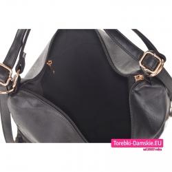 Torbo - plecak damski czarny z kieszeniami wewnątrz