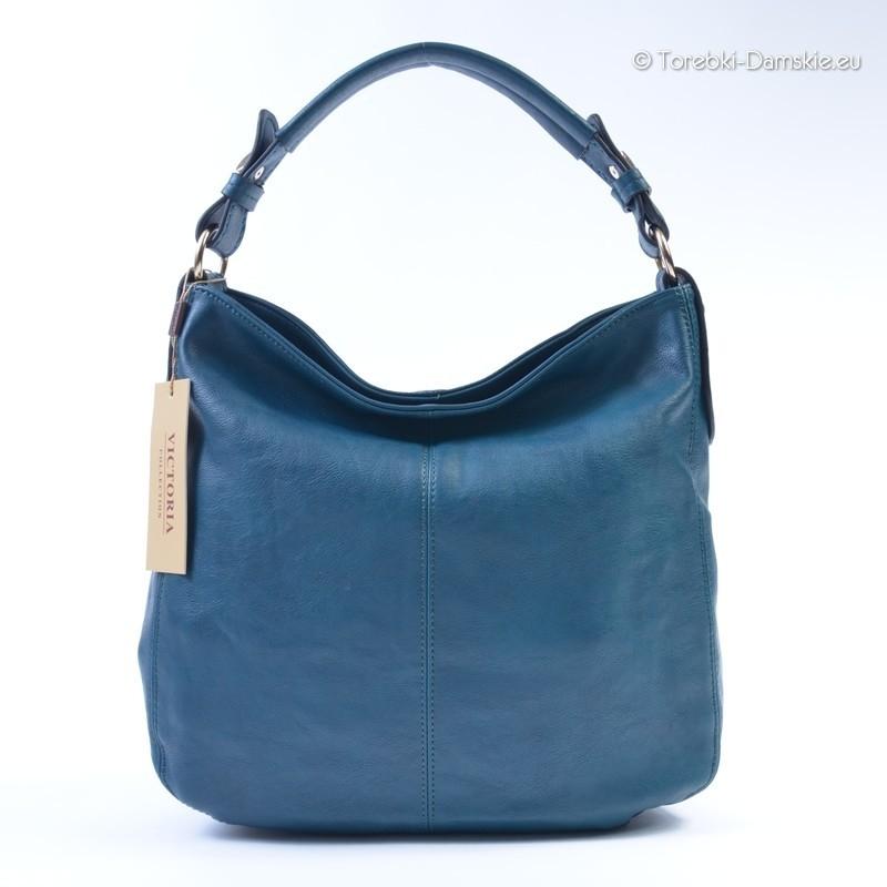 832ad38678927 Pojemna torebka w kolorze błękit   granat - worek na ramie i do ręki