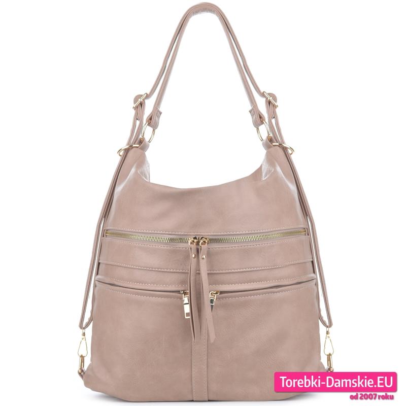 Beżowa torba damska i plecak w jednym z suwakami z przodu