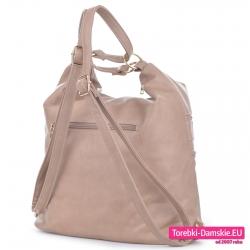 Beżowy plecak damski i torba w jednym