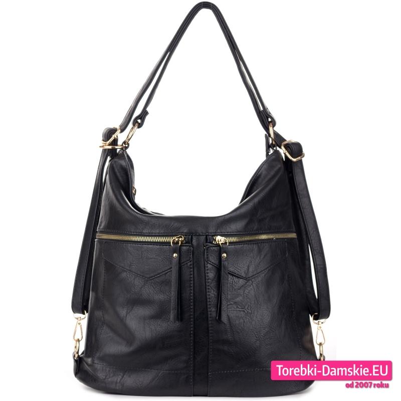 Czarna duża torba i plecak damski w jednym