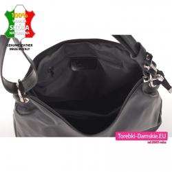 Zamykana suwakiem skórzana torebka z przegrodą wewnątrz