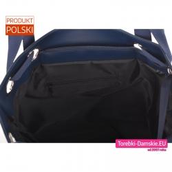 Zamykana suwakiem pojemna granatowa miejska torba A4 z kieszeniami wewnętrznymi
