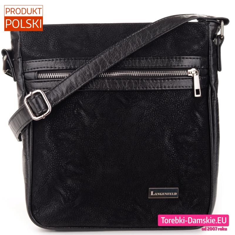 Czarna torebka crossbody z suwakiem srebrnym z przodu