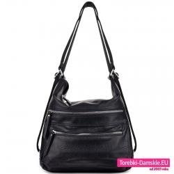 Duży czarny torbo - plecak damski z suwakami z przodu