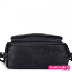 Czarny plecak i torba damska w jednym z płaskim prostokątnym spodem