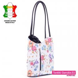 Torebka skórzana i plecak w jednym kolor biały w kwiaty
