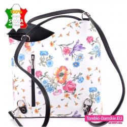 Biały plecak damski ze skóry naturalnej z kolorowym wzorem kwiatowym