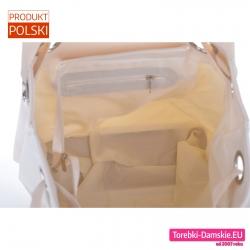 Pakowna beżowa torba zamykana suwakiem
