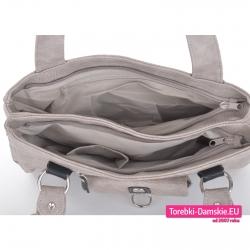 Dwukomorowa torebka w kolorze taupe z kieszeniami wewnątrz