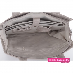 Beżowa torebka A4 z dużą ilością przegród i kieszeni w środku