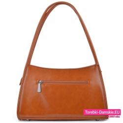 Brązowa torebka w klasycznym fasonie z kieszenią z tyłu