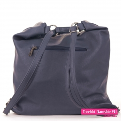 Plecako - torebka granatowa z miękkiej skóry eko