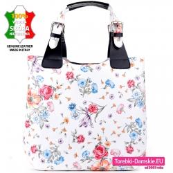 Biała torba shopper w kwiaty z czarnymi elementami