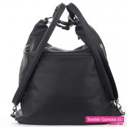 Czarny plecak z możliwością noszenia na ramieniu