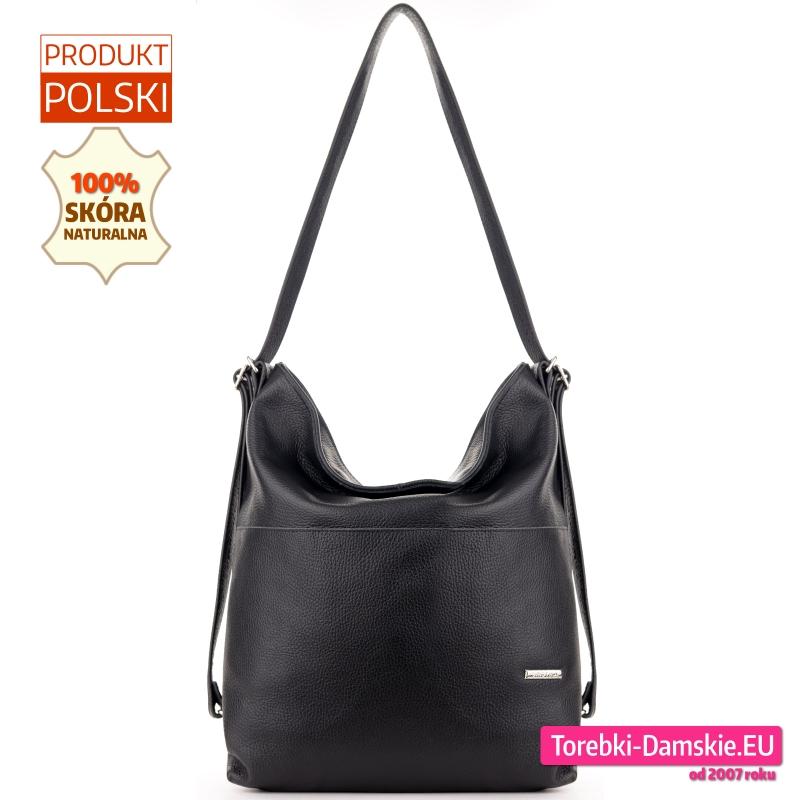 Skórzana czarna torebka listonoszka i plecak w jednym