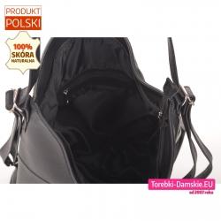Plecako - torebka ze skóry naturalnej z podszewką wewnątrz