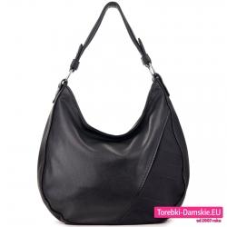 Czarna torebka na ramię stylowy worek