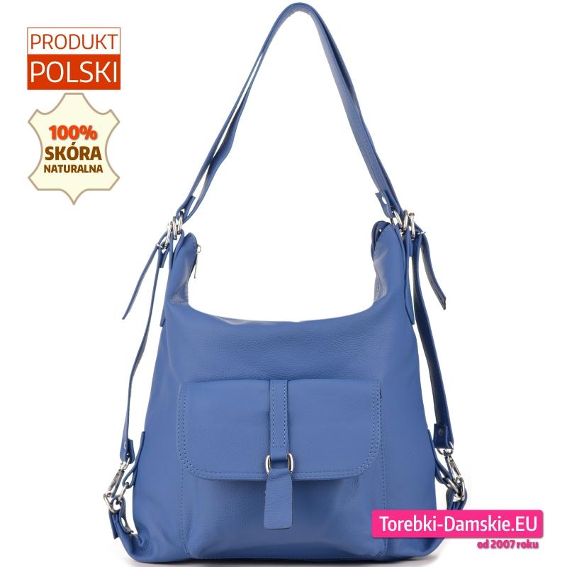 Błękitna skórzana torebka damska z kieszenią z klapą z przodu