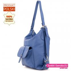 Błękitna torebka damska ze skóry naturalnej